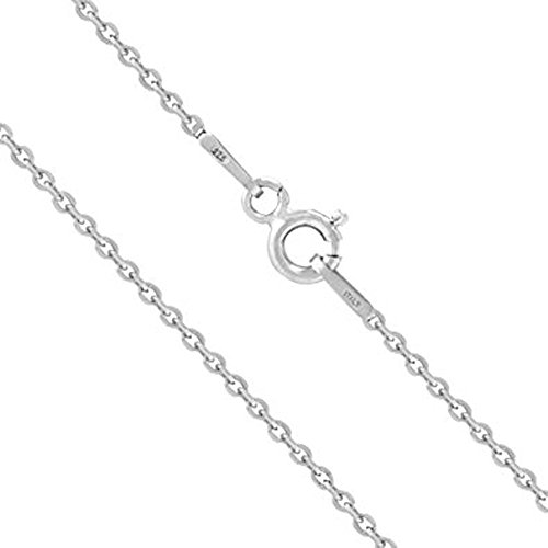 - XP Jewelry Solid Sterling Silver Cable Chain Necklace Made in Italy 0.8mm - 18 Inch