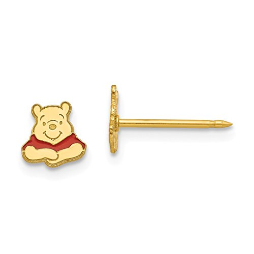ICE CARATS 14kt Yellow Gold Disney Winnie The Pooh Post Stud Earrings Tool Ear Piercing Supply Fine Jewelry Ideal Gifts For Women Gift Set From Heart -