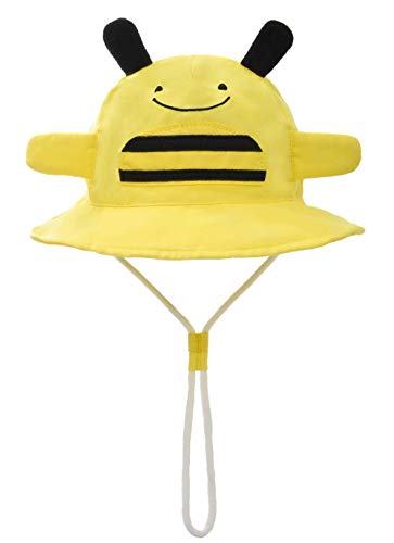 Baby Girl Sun Hat with Chin Strap - Toddler Boy Quickly Dry Sun Protection Beach Hat (L 50/12-24 Months, Cotton Bee)]()