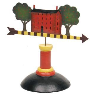 - Primitive Painted Resin Miniature Weathervane on Stand for Displaying