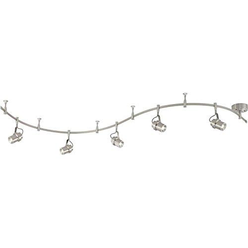 (Quoizel CMA1405BN Cinema Track Lighting Kits, 5-Light, LED 35 Watts, Brushed Nickel (12