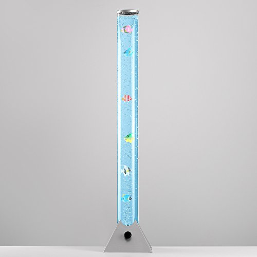 MiniSun - Lámpara de pie LED moderna y de diseño de 90cm, con luces que cambian de color, corriente de burbujas y peces de colores