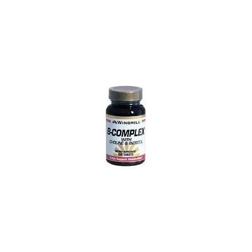 Windmill B-Complex Tablets With Choline and Inositol 100 TB - Buy Packs and SAVE (Pack of 3) -