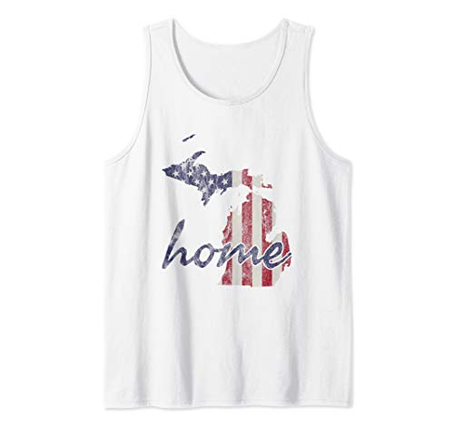 Michigan American Flag Home State Outline Distressed Look Tank Top