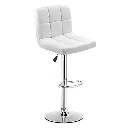 Classic Mirror Adjustable (COSTWAY Swivel Bar Stool Adjustable PU Leather Barstools Bistro Pub Chair Counter Barstool (White))