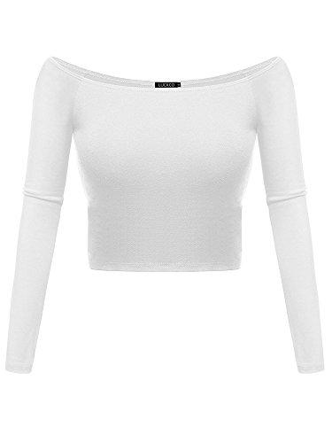 Luckco Women's Basic Long Sleeve Slim Fit Off Shoulder Cami Crop Top Medium White