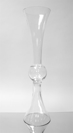 WGV Clear Reversible Latour Trumpet Glass Vase with Ball in center, 24-Inch