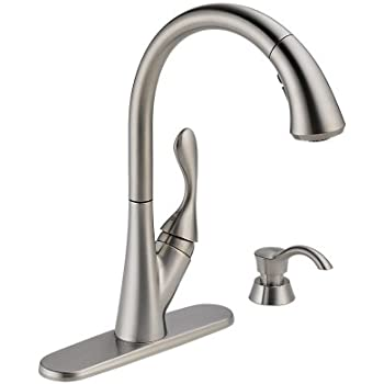 Delta 19922-SSSD-DST Ashton Single Handle Pull-Down Kitchen Faucet with Soap Dispenser, Stainless