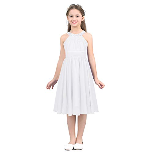 - YiZYiF Kids Big Girl Sleeveless Pleated Chiffon Flower Wedding Bridesmaid Formal Party Dress (8, Sequined White)