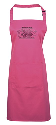 Brownie Recipe, Printed Apron - Hot Pink