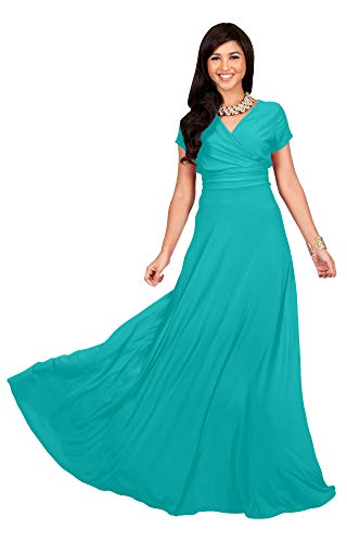 f145c39f0d Galleon - KOH KOH Plus Size Womens Long Cap Short Sleeve V-Neck Flowy  Cocktail Slimming Summer Sexy Casual Formal Sun Sundress Work Cute Gown  Gowns Maxi ...