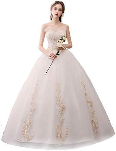 Hochzeitskleid Brautkleider Damen Hochzeit Bandeau-Art Schöne goldene Spitze-Muster-Temperament Fluffy Rock Weiß Brautkleid (Color : White, Size : L)