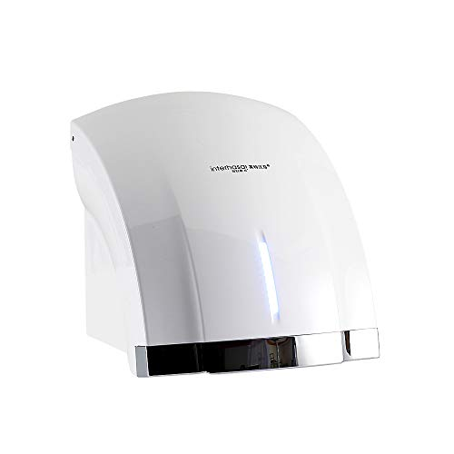 Interhasa! Wall mounted Hand dryer,Low Noise 50dB,Intelligence Sensing System Hand Dryer Commercial,Powerful 1800W With timing progress light (white)