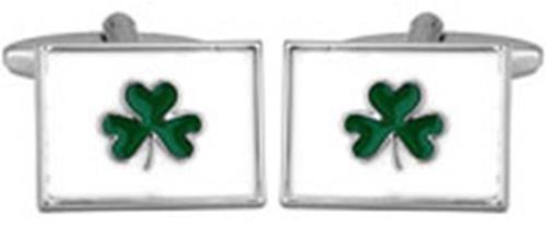 Trèfle irlandais cadeau Boutons de manchettes plaqués Rhodium