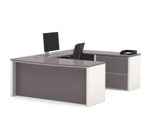 (Bestar Connexion U-Shaped Workstation with Two Drawers, Slate/Sandstone)