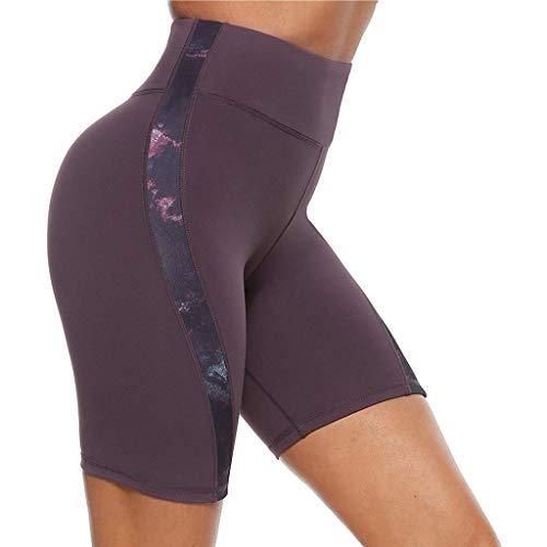 Ahagogo Yoga Pants High Waist Tummy Control Workout Running Stretching Yoga Leggings Womens Workout Shorts Gym Yoga Shorts Leggings Shorts Purple