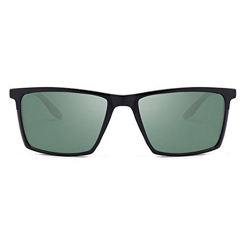 lunettes Noir Huateng lunettes a soleil UV400 des hommes des rétro de Mat carré polarisé Vert de classiques cadre 7rqw7UFS