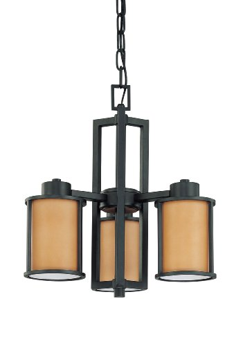 Nuvo Lighting 60/3825 Odeon 3-Light Chandelier with Convertible Arms Up or Down and Parchment Glass, Aged Bronze