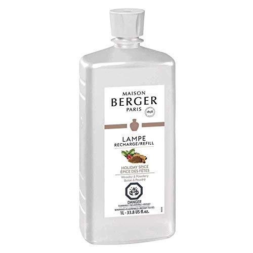 Holiday Spice | Lampe Berger Fragrance Refill for Home Fragrance Oil Diffuser | Purifying and perfuming Your Home | 33.8 Fluid Ounces - 1 Liter | Made in France