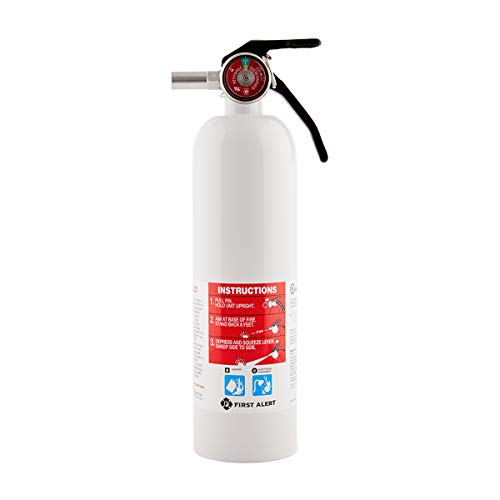 (First Alert Fire Extinguisher | Recreation Vehicle and Marine Fire Extinguisher, White, Rechargeable, REC5)