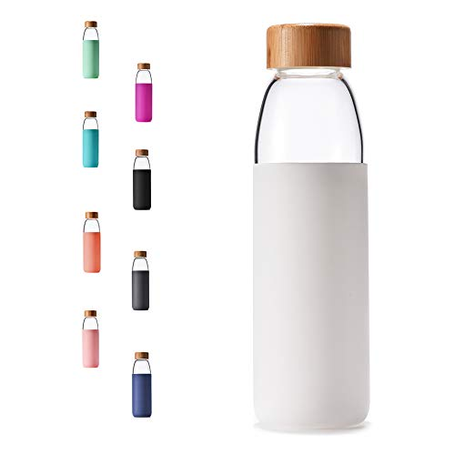 Veegoal 18 Oz Borosilicate Glass Water Bottle with Bamboo Lid and Protective Sleeve-Bpa Free (White)