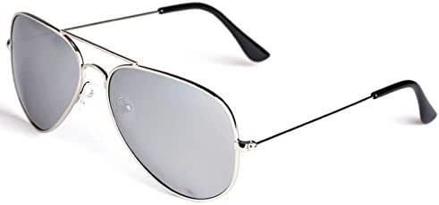 Outray Silver Frame With Mirrored Lenses Unisex Aviator Sunglasses