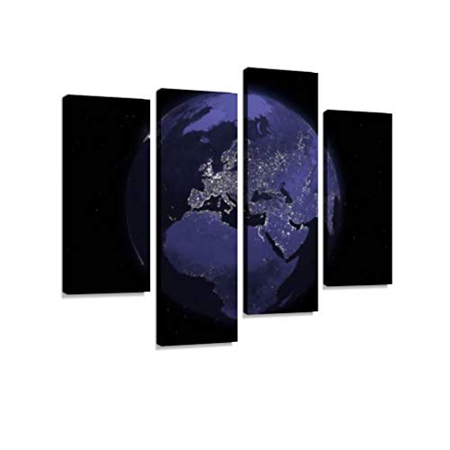 (Globe Series: Night - Europe Canvas Wall Art Hanging Paintings Modern Artwork Abstract Picture Prints Home Decoration Gift Unique Designed Framed 4 Panel)