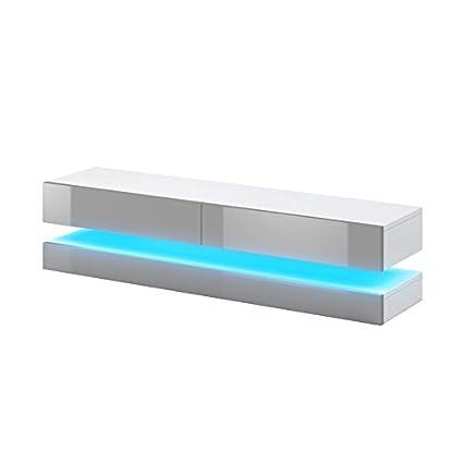 Selsey Aviator - TV-Board in Schwebeoptik / TV-Hängeschrank / Fernsehschrank Weiß matt / grau Hochglanz mit LED blau, 140 cm