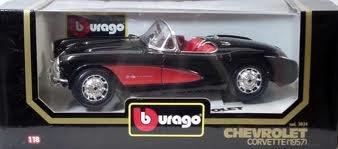(Burago 3034br 1957 Chevrolet Corvette - Red and Black Convertible - Diecast - 1:18 Scale)