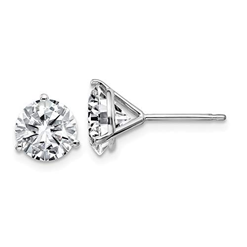 FB Jewels 14K White Gold 2.50ct. 7.0mm Round Moissanite 3-Prong Post Earring ()