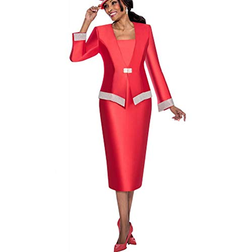 (Kueeni Women Church Suits with Hats Church Dress Suit for Ladies Formal Clothes White (red Suit,)