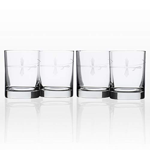 Rolf Glass Etched Fly Fishing Double Old Fashioned Glass (Set of 4), 13 oz, Clear ()