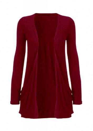 Hot Hanger Ladies Plus tamaño bolsillo largo manga chaqueta 16–�?6 Vino