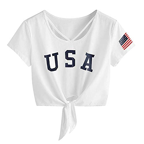 ANJUNIE Womens Letter Print Short Sleeve Crop Tops Cross Scoop Neck T-Shirt Knot Front American Flag Tees(1-White,L) (Nordstrom Sweater Fleece)
