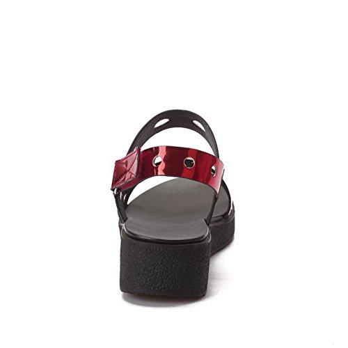 Spitze Fersen Frauen Rot Niedrige Mikrofaser Sandalen Klett AllhqFashion Solid Offene qHtXww