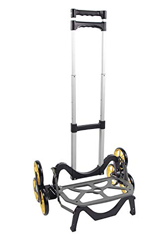 UpCart Original Deluxe All-Terrain Stair Climbing Folding Cart  withTelescoping Handle and Rubber Wheels 2 Bungees