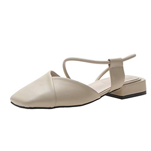 EDC Women's Summer Vintage Square Heels Sandals Elegant Square Toe Thick Heel Cross Strappy Casual Shoes (Beige, 5.5)