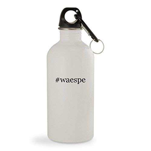 OneMtoss #Waespe - 13.5oz Hashtag White Sturdy Stainless Steel Water Bottle with Carabiner