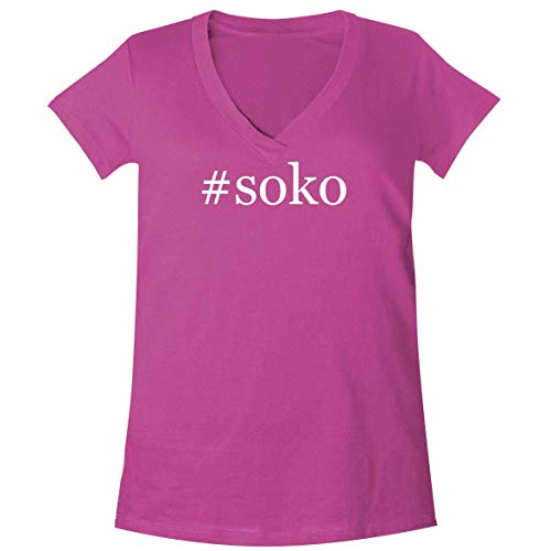 #Soko - A Soft & Comfortable Women's V-Neck T-Shirt, Fuchsia, (Best Sokos Can Openers)