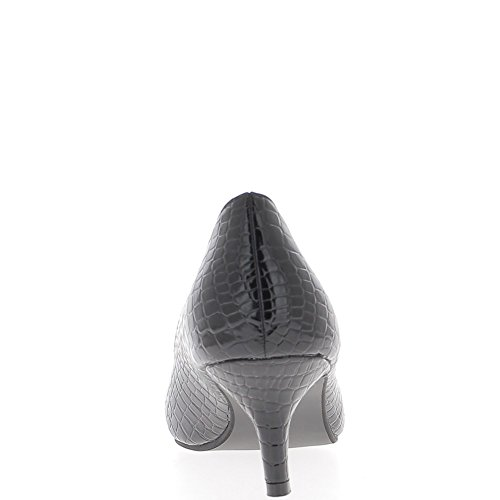 Black señaló Polaco tacones pequeños zapatos de 6cm look croco