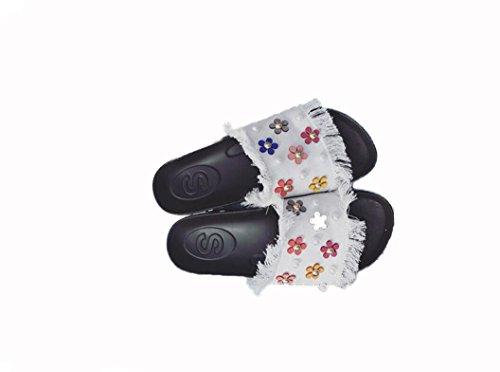 Beauqueen Pantoufles Femme Eté Denim Colorful Daisy Pearl Talon plat Sandales Blanc , 40