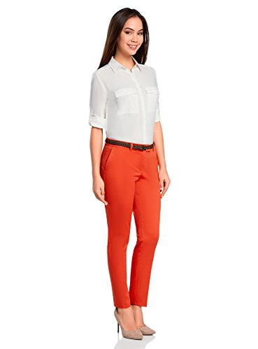 oodji Collection Mujer Pantalones Clásicos Ajustados Naranja (5500N)