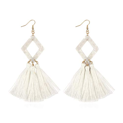 Diamond Earrings Fringe - RIAH FASHION Bohemian Silky Thread Fan Tassel Statement Drop - Vintage Gold Feather Shape Strand Fringe Lightweight Hook/Acetate Dangles Earrings/Long Chain Necklace (Diamond Acetate Tassel - White)