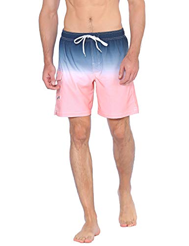 (Nonwe Men's Surf Shorts Quick Dry Gradient Color Beach Vacation Trunks Shorts Drawstring Blue-Pink 42 )