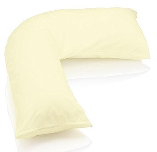 [PRICEBUST] CREAM V SHAPED 100% EGYPTIAN COTTON 200TC THREAD COUNT PILLOWCASE BACK & NECK SUPPORT, MATERNITY, ORTHOPEDIC, V COVER ONLY PB