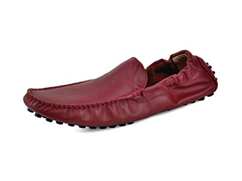 Happyshop(TM) Genuine Soft Leather Casual Slip-on Loafer Flats Driving Mens Cars Shoes Wine Red