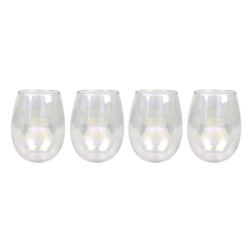 Top Shelf Decorative Pearl Luster Stemless Wine Glass Set with Gift Box, For Red or White Wine, Unique and Colorful Glassware for Birthday Parties, Weddings, and Housewarmings, Set of 4