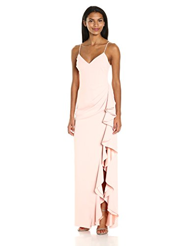 Badgley-Mischka-Womens-V-Neck-Ruffle-Gown
