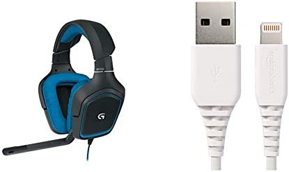 Logitech G430 Gaming Headset for PC Gaming with 7.1 Dolby Surround, BlackBlue & AmazonBasics Lightning to USB A Cable with Apple MFi Certified 3 Feet