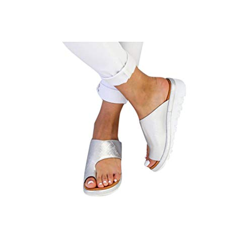 (Dressin Women's Sandals 2019 New Women Comfy Platform Sandal Shoes Summer Beach Travel Shoes Fashion Sandal Ladies Shoes Silver)